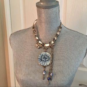 Sterling silver porcelain hanging necklace choker
